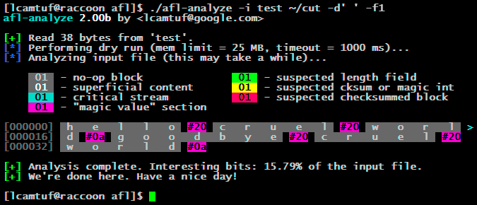 Automatically inferring file syntax with afl-analyze